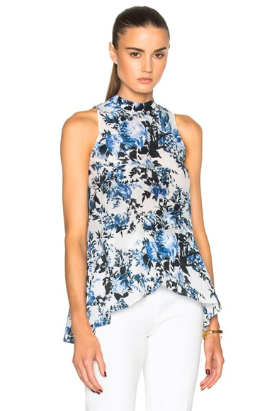 Rosa Blue Hill Garden Crepe de Chine Top