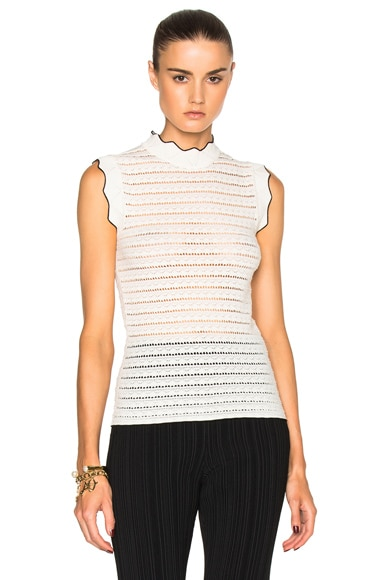 Ruffled Pointelle Knit Top