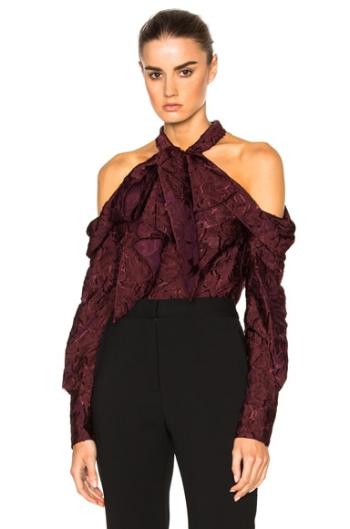 Erdem Forest Voile Aila Top in Burgundy
