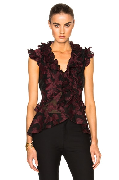 Erdem Floral Garland Regina Top in Burgundy & Black