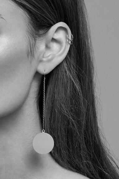 14K Gold Asymmetric Plate Earring