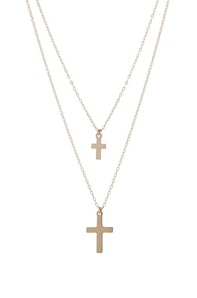 ERTH for FWRD 14K Gold Double Cross Necklace in Gold