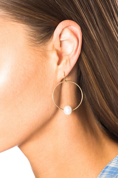 14K Gold Pearl Hoop Pull Through Earring