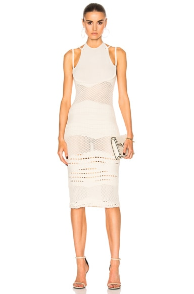 Esteban Cortazar Crochet Knit Dress in Ecru