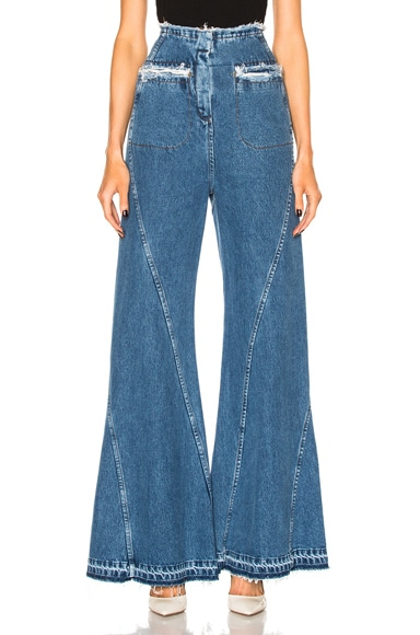 Esteban Cortazar High Waisted Flare in Brut Blue