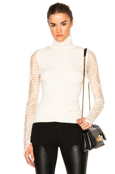 Esteban Cortazar Cropped Turtleneck Sweater in Ecru