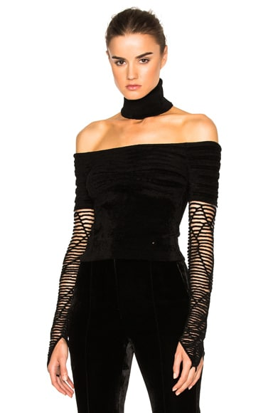 Esteban Cortazar Bare Shoulder Turtleneck Sweater in Black