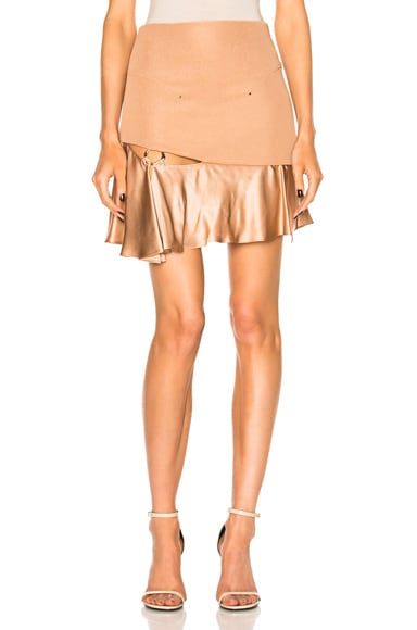 Esteban Cortazar Short Ring Skirt in Dust Nude