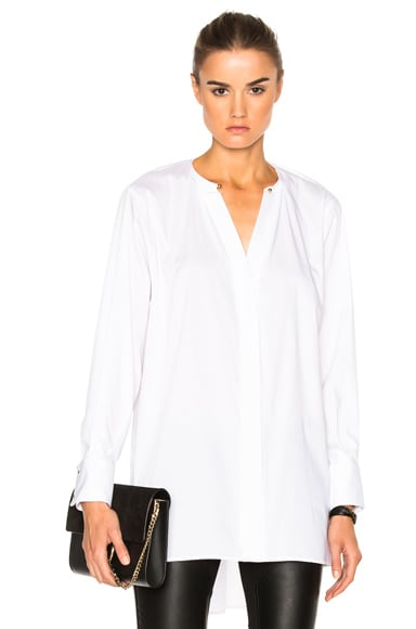 Esteban Cortazar Necklace Collar Tunic Top in White