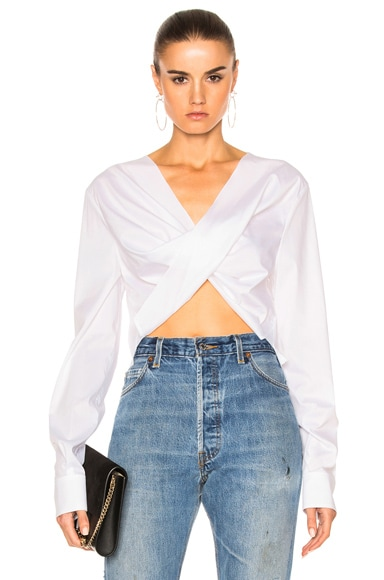 Esteban Cortazar Poplin Asymmetric Top in White
