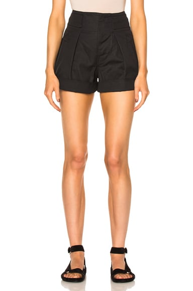 Isabel Marant Etoile Ivy Cotton Linen Shorts in Faded Black