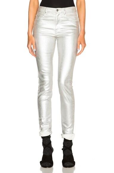 Isabel Marant Etoile Ellos Metallic Jeans in Silver