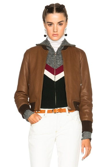 Isabel Marant Etoile Brantley Washed Leather Jacket in Brown