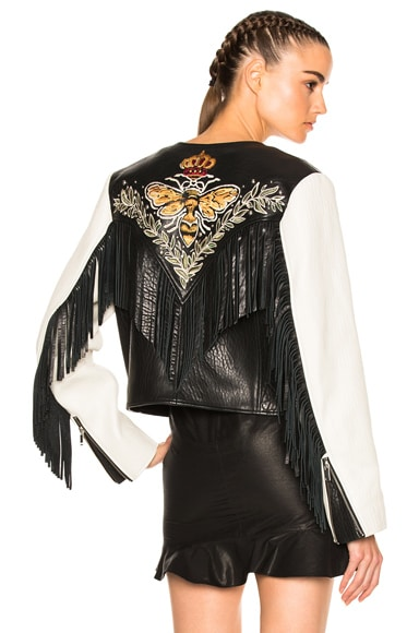Kirk Embroidered Bubble Leather Jacket