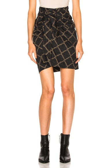 Isabel Marant Etoile Jayda Printed Cotton Skirt in Black