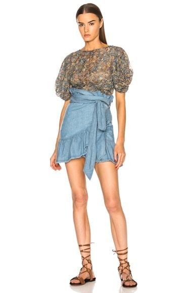 Linday Chambray Ruffle Trim Mini Skirt