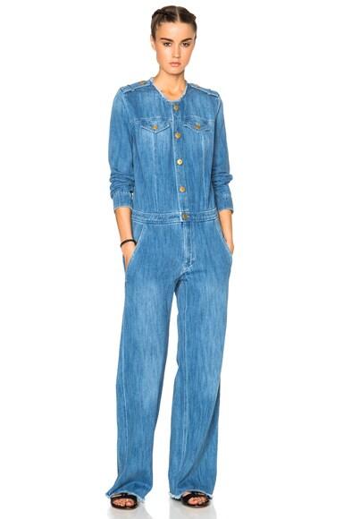 Isabel Marant Etoile Ojima Fluffy Jean Jumpsuit in Blue