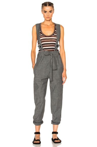 Isabel Marant Etoile Adrien Chambray Overalls in Grey