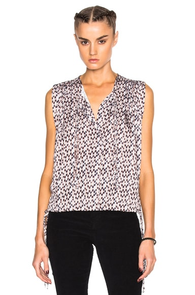 Isabel Marant Etoile Harvey Pleated Print Top in Ecru
