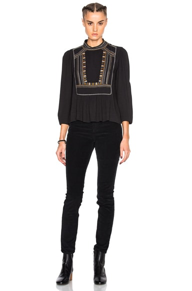 Cerza Embroidered Crepe Top