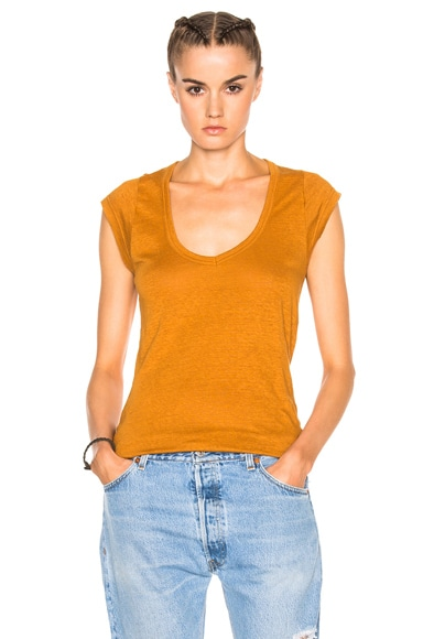 Isabel Marant Etoile Kentow Linen Tee in Amber Gold