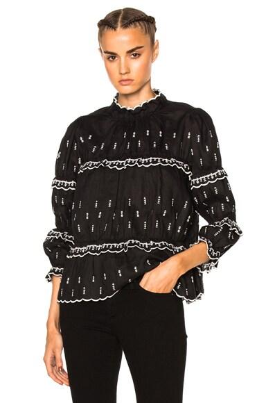 Isabel Marant Etoile Daniela Chic Linen Top in Black