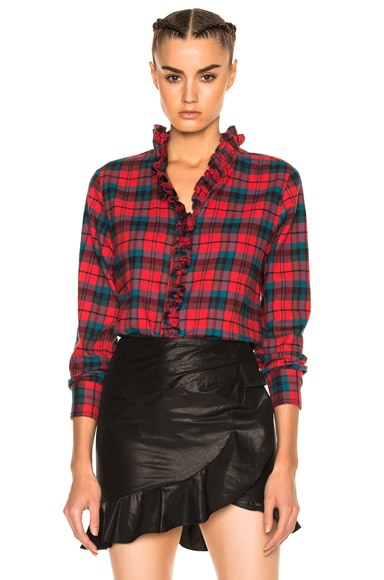 Awendy Ruffled Check Shirt