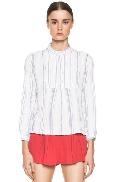 Lana Striped Cotton Crepe Blouse