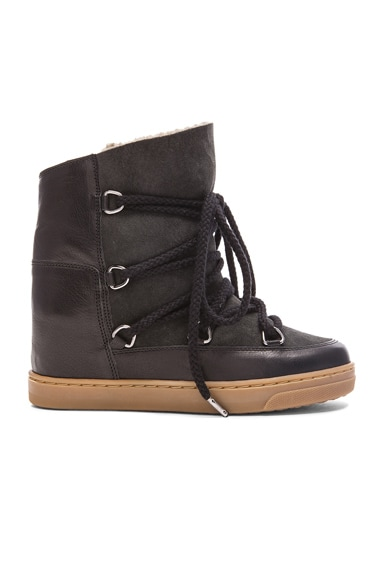 Isabel Marant Etoile Nowles Shearling and Leather Boots in Black