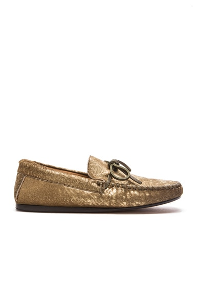 Isabel Marant Etoile Fodih Calf Hair Moccasins in Gold