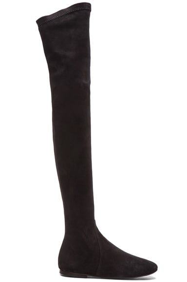 Isabel Marant Etoile Brenna Over the Knee Suede Boots in Black