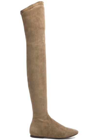 Isabel Marant Etoile Brenna Over the Knee Suede Boots in Taupe
