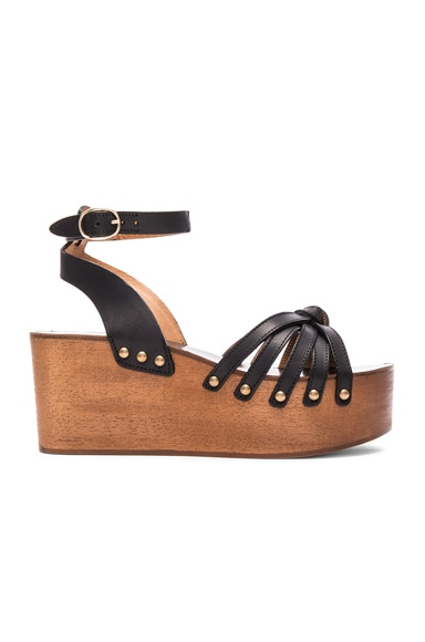 Isabel Marant Etoile Zia Leather Wedge Sandals in Black