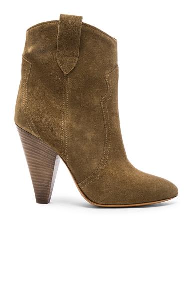 Isabel Marant Etoile Roxann Velvet Booties in Brown