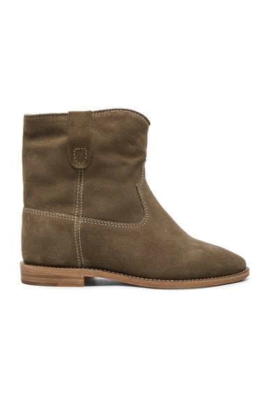 Isabel Marant Etoile Crisi Velvet Booties in Taupe