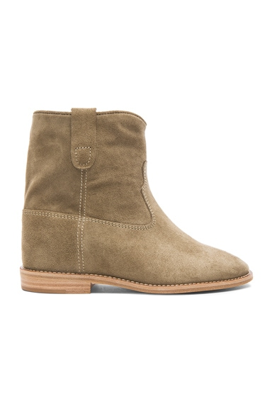 Isabel Marant Etoile Crisi Calfskin Velvet Leather Boots in Taupe