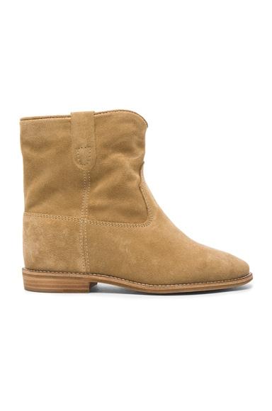 Isabel Marant Etoile Crisi Velvet Boots in Beige