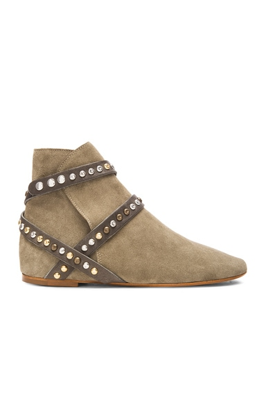Isabel Marant Etoile Ruben Hey Jude Calfskin Velvet Leather Boots in Taupe