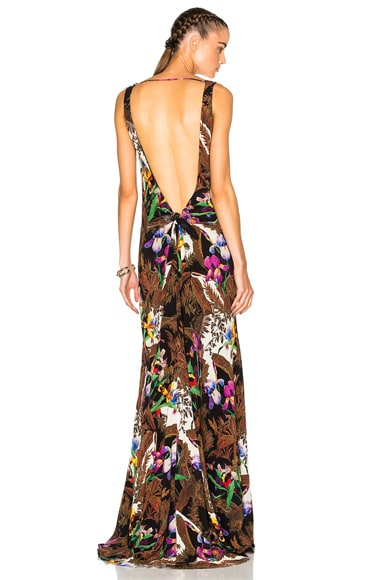 Backless Printed Maxi Dress