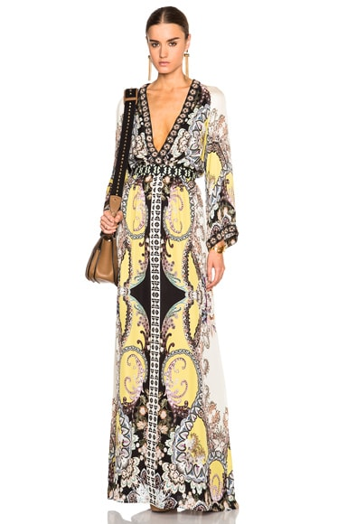 Etro Beaded Long Dress in Multi
