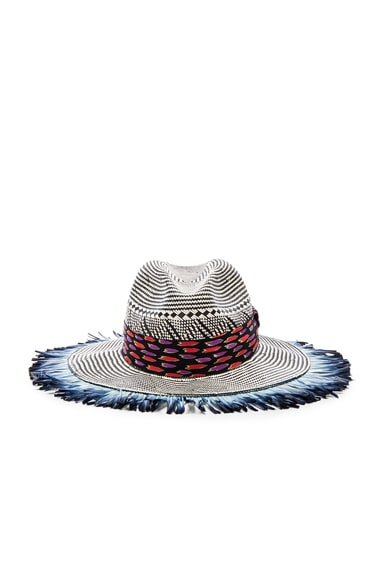 Etro Woven Feather Hat in Blue