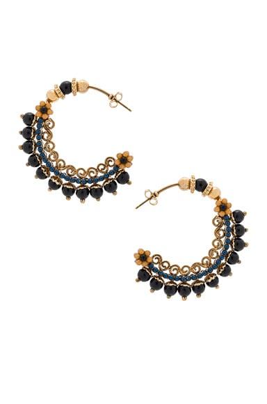 Etro Hoop Earrings in Gold & Blue