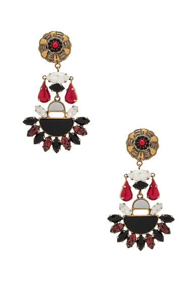 Etro Tribal Earrings in Red Multicolor