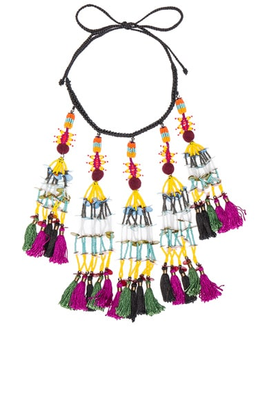 Etro Tassel Beaded Necklace in Black