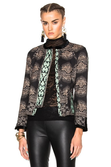 Etro Velvet Trim Jacket in Black Multi