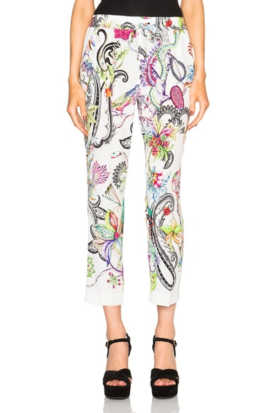 Etro Printed Pants in White