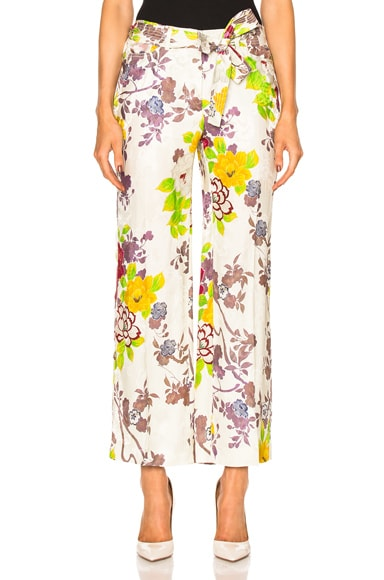 Etro Belted Printed Trousers in White