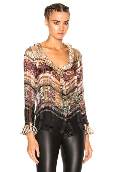 Etro Ruffle Blouse in Rose Multi