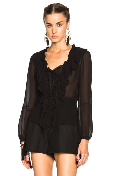 Etro Ruffle Blouse in Black