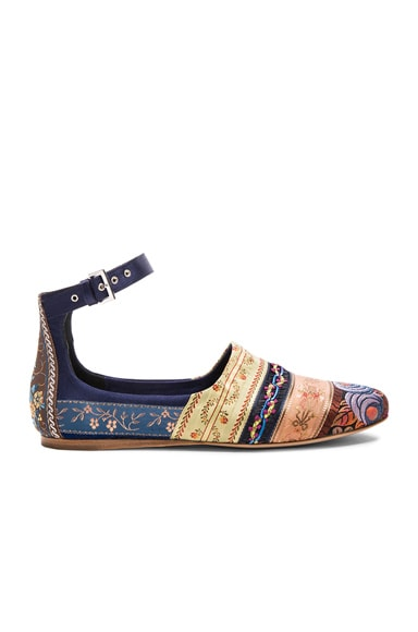 Etro Striped Flats in Navy Multi